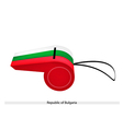 White Green and Red Stripe on Bulgaria Whistle vector image