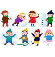 winter children activities snow outdoor activity vector image vector image