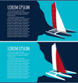 yacht club flyers design with sport trimaran vector image vector image