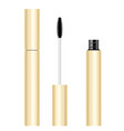 yellow gold mascara tube with brush vector image vector image