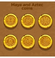 old gold aztec and Maya coins game element vector image