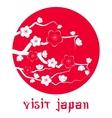 Cherry blossom Sakura branch silhouette vector image