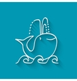 cute whale on wave vector image