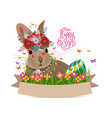 easter eggs and rabbit spring fresh grass vector image