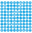 100 mobile icons set blue vector image vector image