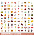 100 toastmaster icons set flat style vector image vector image