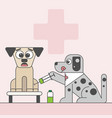 a dog afraid of injection in animal hospital vector image