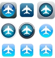 Aircraft blue app icons vector image vector image