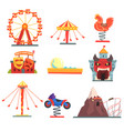 amusement park with family attractions set of vector image vector image