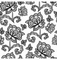 black seamless lace pattern with rose on vector image vector image