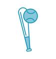 blue baseball ball and bat vector image