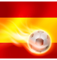 Burning football on Spain flag background vector image vector image