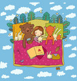 cartoon girl sleeping in bed baand toys vector image