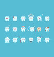 cartoon teeth cute tooth characters with emotions vector image