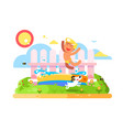 child boy play in garden pool vector image