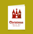 christmas card with church design vector image