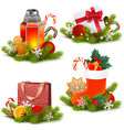 christmas concept icons vector image vector image