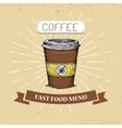 Coffee fast food in vintage vector image vector image