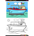 container ship character coloring book vector image vector image