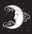 crescent moon and stars in antique style vector image vector image