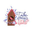 cute cartoon birdhouse with birds and flowers vector image