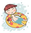 cute happy summer boy on life ring vector image vector image