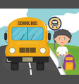 cute little student boy in bus stop vector image