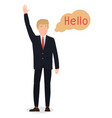 dec 07 2018 donald trump character says hello on vector image vector image