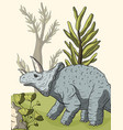 dinosaur triceratops in its habitat vector image