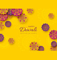 diwali festival holiday design with paper cut vector image vector image