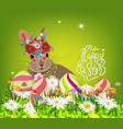 easter eggs and rabbit spring fresh grass vector image vector image