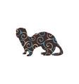 ferret weasel ermine mammal color silhouette vector image vector image