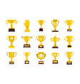 gold cup icon set flat style vector image vector image