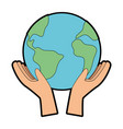 hands with world planet earth icon vector image vector image