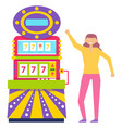 happy gambler with slot machine casino player vector image vector image
