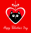 happy valentines day big paper heart hangin on vector image vector image