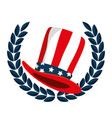 hat with united states america flag and wreath vector image vector image