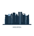 houston skyline monochrome silhouette vector image vector image