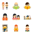 icons set people reading book in flat style vector image