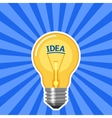 Idea concept with light bulb with blue rays vector image