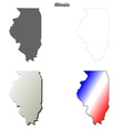 Illinois outline map set vector image vector image