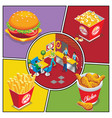 isometric fast food colorful composition vector image vector image