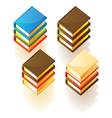 Isometric icons of stacked books vector image vector image