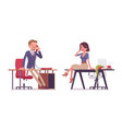 male and female office secretary phone talking vector image