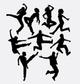 Modern dance man and women action silhouette vector image vector image