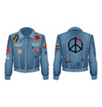 peace sign on back of jacket vector image vector image