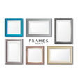 realistic rectangular gold and blue frames set vector image vector image