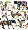 Seamless pattern with isolated Mexican animals and vector image vector image