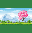 seamless spring nature background with mountains vector image vector image