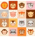 set 16 animal faces cow monkey and other vector image vector image
